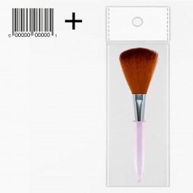 BR010 ОРР+шк кисть для макияжа (для пудры и румян, прозрачная ручка) 11,5 см (12 шт/уп 1200/кор) стикер ш/к