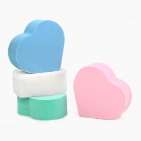 SPN09 спонж резин- софт, сердечко микс 5*5,5 h- 2 см для макияжа и умывания 3 гр. без ИУ (50 шт/уп 1600/кор)