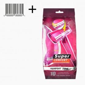 SHV02+стикер ш/к Однораз.бритв с 2умя лезвиями, 10 шт/уп SUPER comfort Розовая упаковка 46 гр.(8уп/уп ZIP 25*35 144/кор) цена за УПАКОВКУ из 10 бритв
