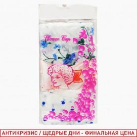 SHC03 шапочка для душа 3 шт в упаковке 25,5дм белый фон с рисунком красн, голуб, зелен 5 гр.(3шт/уп 3600 шт/кор) цена за 1 шт