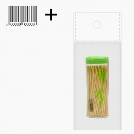 THP01 (OPP 5*10) + ШК палочки деревянные /для канапе, чистки зубов/ 7,5 см в прозрачн с дозатором футляре по 70-80 штук 16 гр (1б/уп)