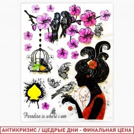 ROOM DECOR GG-012 Девушка с птице+клетка+цветы 52*32 см (1шт/уп 500 шт/кор)