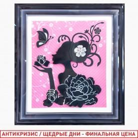 ROOM DECOR HFB009 картина в рамке силуэт девушки цветы бабочка 45*35 см (1шт/уп 360 шт/кор)