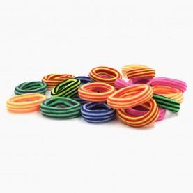 HP 08 заколка-резинка 2,5 см полосатый разноцветный МИКС (желтый, салат, оранж,зелень) в упаковке 90-100 шт (100 шт в ОРР) цена за 1 шт