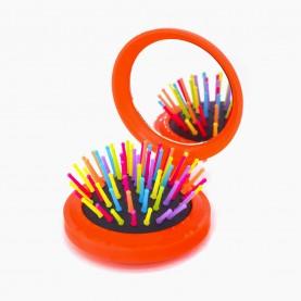 M20 (М5) расческа ёжик круглая зуб-цвет подушка черная с зеркалом 6*6см раскладная 14*6 cm 31 гр микс OPP (12 шт/уп кор/600шт)