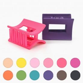 HP402 заколка-крабик прямоуго разноцветный МИКС для волос 3,5*2,5см 4зубчика 4 гр. (12 шт/уп ОРРкор/4320шт)