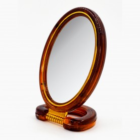MIR 02 зеркало ОВАЛ с подст 2-х сторонн 11*8см +5под, с увел в карт кор 16,5*8см 53гр.(12шт/уп 288/кор)