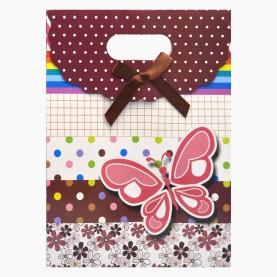 """BGP02 ПАКЕТ подарочный бумажный """"Бабочка"""" с вырубленной ручкой 15*20*7 см (12шт/уп 1200 шт/кор)"""