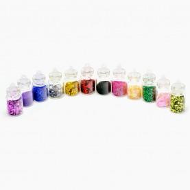 DN07-3 МИКС глиттеры для ногтей (набор из 12 боченков 2,3 см для дизайна ногтей) в пластмасс баночке 42 гр. (12 уп/уп/ 600 шт/кор) за 1 упаковку