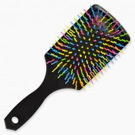 CMB110 расческа массажная, квадратная подушка, цветные зубчики волна 23,5*7,5 cm микс в OPP 87 гр (12шт/уп к/240шт)