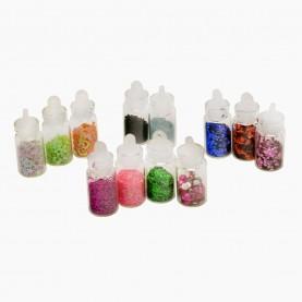 DN07-2 МИКС глиттеры для ногтей (набор из 12 боченков 2 см для дизайна ногтей) в пластмасс баночке 23 гр. (12 уп/уп/ 600 шт/кор) за 1 упаковку