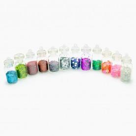 DN07-4 МИКС глиттеры для ногтей (набор из 12 боченков 2,9 см для дизайна ногтей) в пластмасс баночке 57 гр. (12 уп/уп/ 600 шт/кор) за 1 упаковку