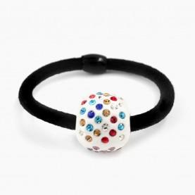 HP 60 заколка-резинка МИКС (прозрачные и разноцветные) кристаллы* шарм с кристаллами*d - 5см, 8 гр (100 шт /уп 4000 /кор)
