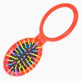 M20В (М6) расческа ёжик овал зуб-цвет подушка черная с зеркал 7,5*5,5см раскладная 16,5*5,5 см/ 32 гр микс OPP (12 шт/уп кор/600шт)