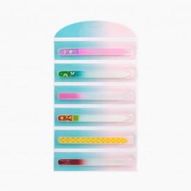 GF_20 14 см на отрывном блистере стеклянная пилка с узорами (микс) для ногтей 14 см. (6 шт/блистер 216-шт/кор) цена за лист- 6 штук