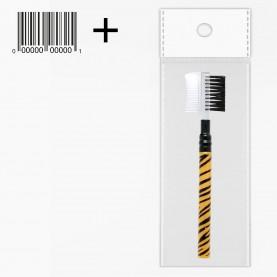 BR104-4 серия ТИГР двусторонняя расческа-щетка для бровей и ресниц 10,5 см (1 шт/уп) в ОРР +стикер ш/к