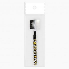 BR104л-4 серия БЕЛЫЙ ЛЕОПАРД двусторонняя расческа-щетка для бровей и ресниц 11,5 см (1 шт/уп) в ОРР +стикер ш/к