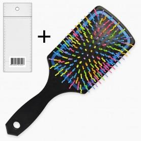 CMB111 ОРР+шк расческа массажная, квадратная подушка, цветные зубчики волна 24cm микс (6 шт/zip пакет 25*35 к/240шт)