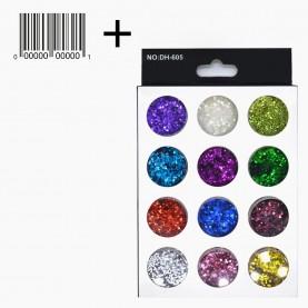 DN20 + стикер шк МИКС глиттеры для ногтей (12 баночек крупные блестки) в картон упаковке 14,5х9см. 75 гр. (12 шт/уп 360 шт/кор) цена 1 шт.