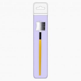 BR200-4 серия ПРОФЕССИОНАЛ ЧЕРНО-ЗОЛОТАЯ двусторонняя расческа-щетка для бровей и ресниц 15 см (1 шт/уп) в PVC+стикер ш/к 9гр