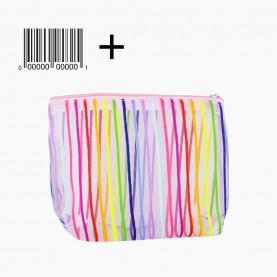 CB 08 mix 5 цв ОРР+шк косметичка 14,5*17 см разноцветная сеточка в полоску 11 гр.(10шт/уп) (1000шт/кор)