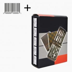 MNS031+стикер ш/к маникюрный набор (9 предметов) мягкий футл, клетка в ассорт. 10*8 см. 120 гр.(240шт/кор) в ИК