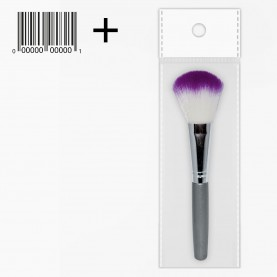 BR011 ОРР+шк кисть для макияжа (для пудры и румян/ белый ворс с розовым наконечником) 14 см (12 шт/уп ZIP 15*20 1200/кор)