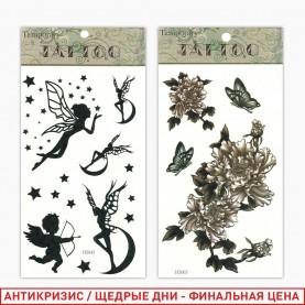 ТАТ103 тату наклейки серия ассортимент лист 10,5*20,5см (12шт/кор/6000л) цена за лист