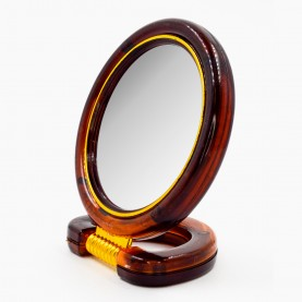 MIR 01 зеркало КРУГЛОЕ с подставкой 2-х сторонн 9 см д +5 подс, с увелич в карт кор 14*9 см 51гр. (12шт/уп 288/кор)