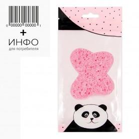 SPN04 губка ZIPПанда+стикер шк губка для умывания и снятия макияжа БАБОЧКА/КРУГ цвет микс 7*6 см 3гр.(10 шт/уп)