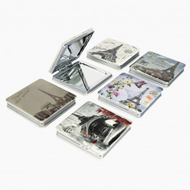 MIR24 зеркало 2ое с увеличением складное карманное КВАДРАТ 6 см серия РОМАНТИКА рельефный рисунок в ШБ 31 гр.(12 шт/уп 360/кор)