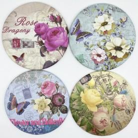 MIR 001 зеркало карманное КРУГ 7,5 см серия ЦВЕТЫ в ОРР 23 гр.(12 шт/zip15x20 1440/кор)
