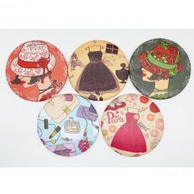 MIR 008 зеркало карманное КРУГ 7,5 см серия ГЛАМУР в ОРР 24 гр.(12 шт/уп zip 15*20 1440/кор)
