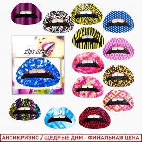 ТАТ401 тату lips sticker клубные стикеры на губы ассортимент лист 8,5*6 см (12шт/уп/кор/3000шт)