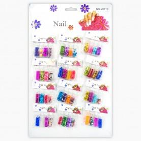 DN32 МИКС глиттеры для ногтей на листе 35х21,5см. 12 пакетов с бутыл.МИКС 11 гр. (12 шт/уп 120 шт/кор)цена 1пакет-4 б