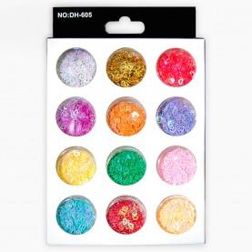 DN23 МИКС глиттеры для ногтей (12 баночек сердечки) в картон упаковке 14,5х9см.(12 шт/уп 360 шт/кор) цена 1 шт