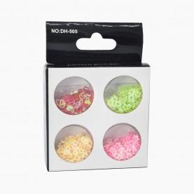 DN10 МИКС глиттеры для ногтей (4 баночки звездочки) в картон упаковке 8,5х6см. 16 гр. (4 шт/уп 600 шт/кор) цена 1шт.