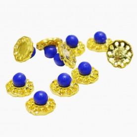 DNM015 металл арт-дизайн золотой цветок с синим сердоликом(0,8см.), в пластм контейнере (10 шт/банке) за 1 шт