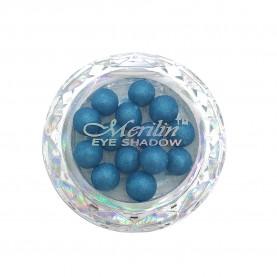 28 тени для век шарики цвет 11 лазурит серебристый шиммер компакт Merilin 3-4 g (6 шт/уп )