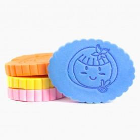 SPN33 губка влажная для умывания и снятия макияжа овал c волной рисунок 11.5 см х8.5см 1.5см(толщ) родной ОРР (50шт/уп)