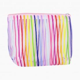 CB 08 mix 5 цв косметичка в ОРР 14,5*17 см разноцветная сеточка в полоску 11 гр.(10шт/уп) (1000шт/кор)