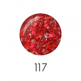 NP001_117 лак для ногтей 12 мл(прозрач с красным гранул и звезд) 12 шт/кор 480шт