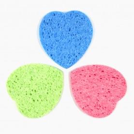 SPN15 спонж-губка для умывания и снятия макияжа сердце 8*9 см 5 гр. без ИУ( 50 шт/уп 3600/кор)