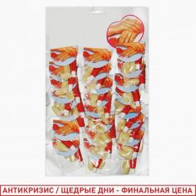 PNF02 ногти пластмассовые бежевые 5 гр. (24 шт/листе, 2400шт/кор) цена за пакетик с комплектом на руки