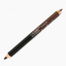 CP010 (черный+коричневый) 2-ной карандаш для внутренней и внешней подводки глаз с точилкой (12 шт/уп 1728 шт/кор) 18,5 см / 2 гр