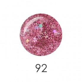 NP001 92_ лак для ногтей 12 мл(прозрачный розовый с блесками и звездочками) 12 шт/кор 480шт