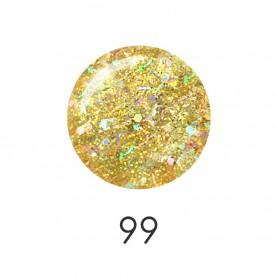 NP001 99_ лак для ногтей 12 мл(прозрачный с золотыми блёсками и сереб соломк) 12 шт/кор 480шт