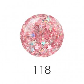 NP001_118_ лак для ногтей 12 мл(прозрачный хамелеон со звездочками и блескам) 12 шт/кор 480шт