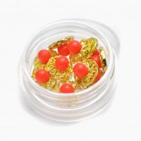 DNM015 металл арт-дизайн золотой цветок с сердоликом пинк (0,8см.), в пластм контейнере (10 шт/банке) за 1 шт