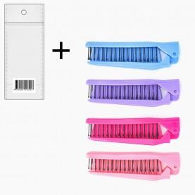 CMB030 ОРР+стикер расческа складная/карманная с металлическими (2ряда)+пластмассовыми зубьями 21см в инд. (разные цвета) 21 гр. (уп/20 шт кор/1200шт)